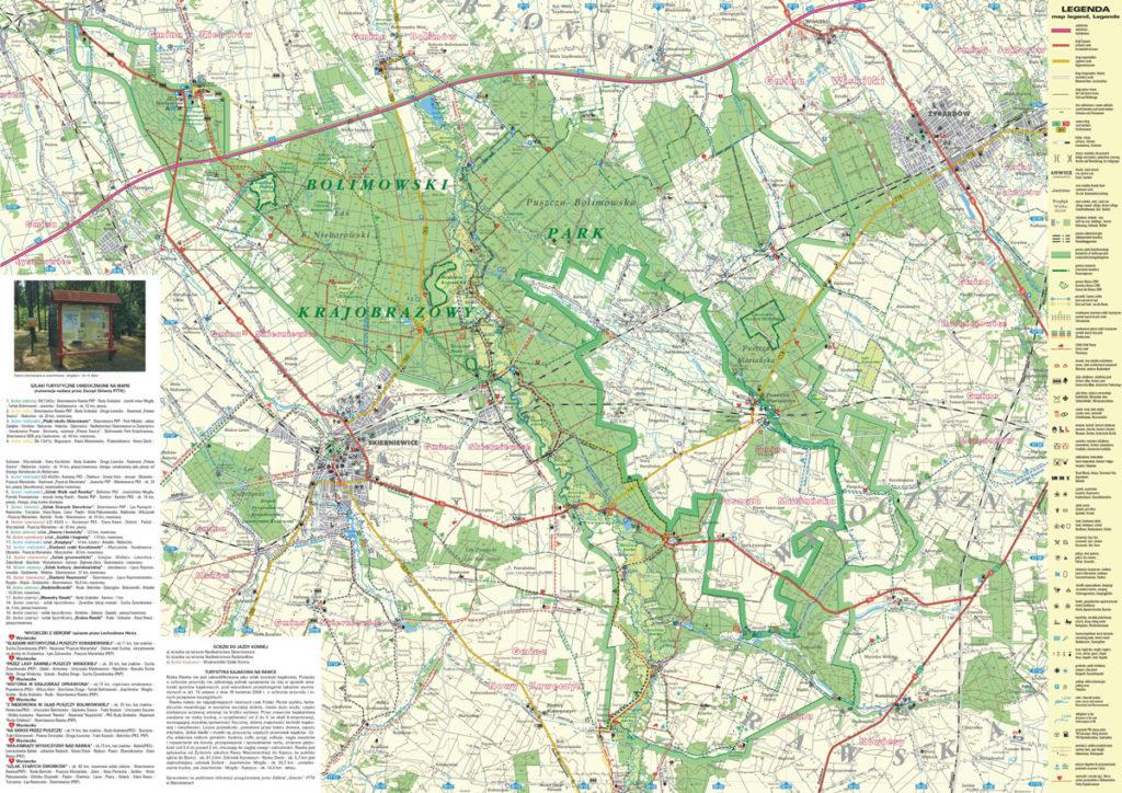 Mapa Bolimowskiego Parku Krajobrazowego
