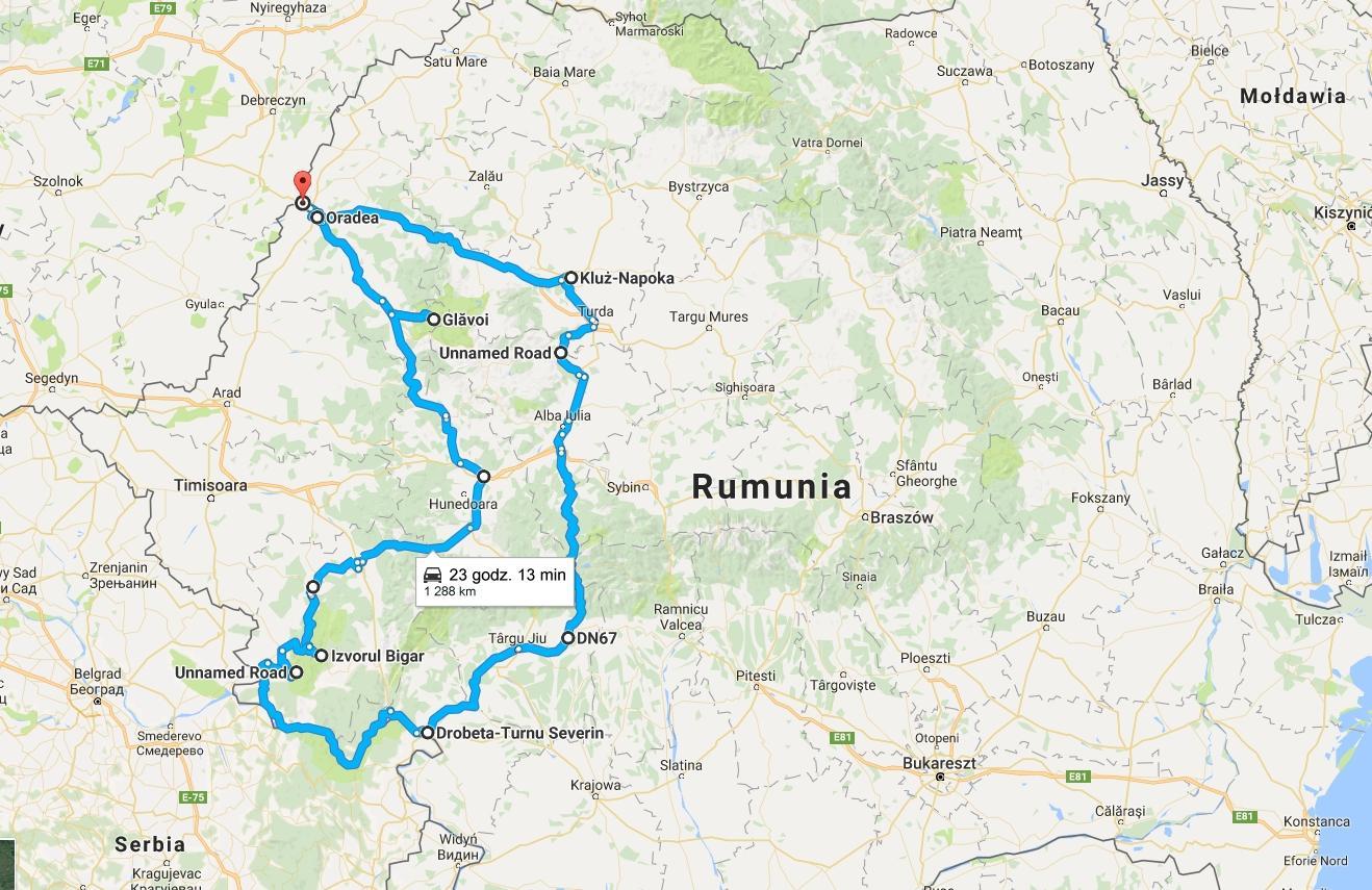 Trasa wyprawy poRumunii